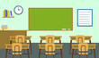 Empty classroom background. Flat illustration of empty classroom vector background for web design