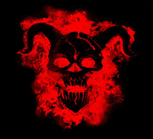 Black Demon Face In Red Silhou...