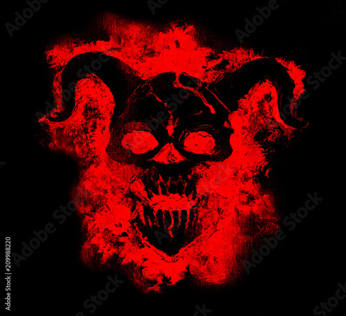 Leinwand Poster Black demon face in red silhouette