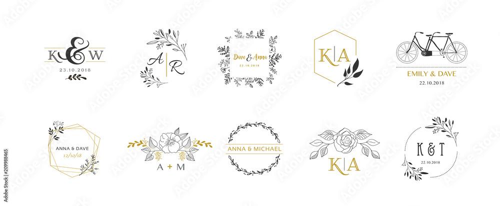 Fototapeta Wedding logos, hand drawn elegant monogram collection