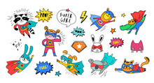 Superhero Cute Hand Drawn Animals, Vector Characters