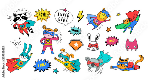Superhero cute hand drawn animals, vector characters