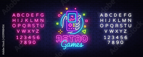 Retro Games Vector Logo Fotobehang