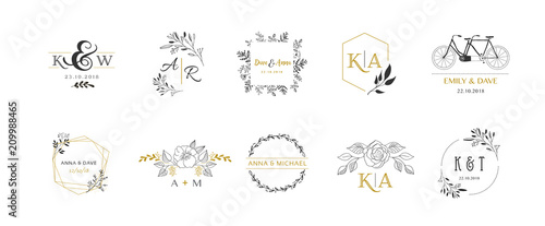 Photo Wedding logos, hand drawn elegant monogram collection