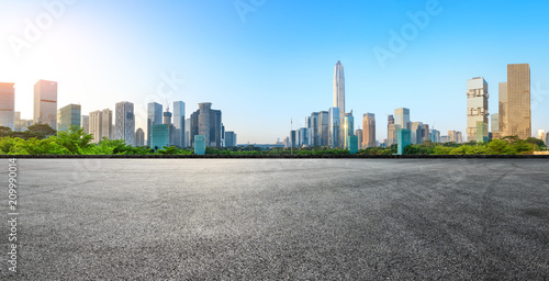 Leinwand Poster Asphalt square road and modern city skyline panorama in Shenzhen,China