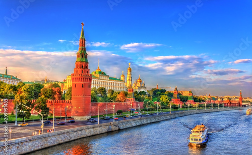 Fotografia View of Moscow Kremlin and the Moskva River, Russia