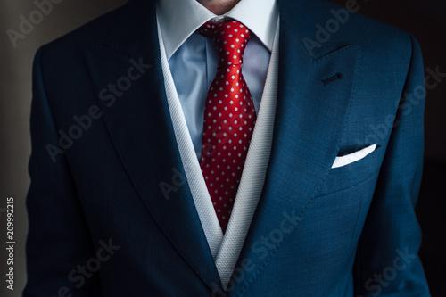 Close up of goom tie and handkerchief