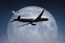 An Airplane And The Moon