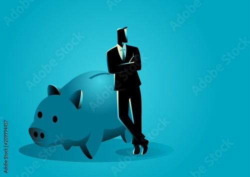Photographie Banker leaning on giant piggy bank