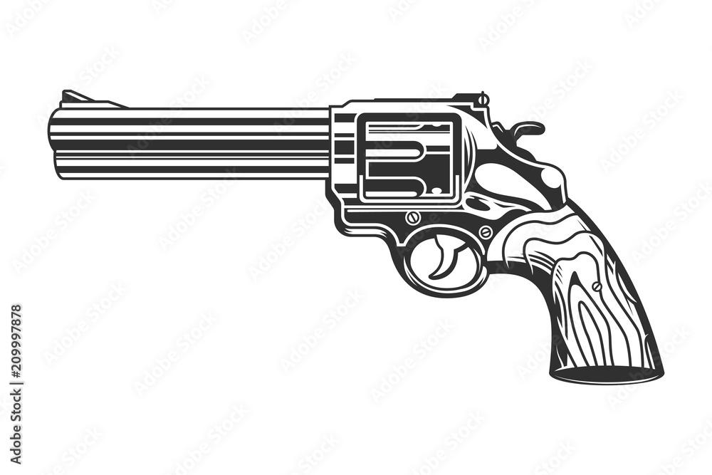 Fototapeta Vintage revolver handgun template