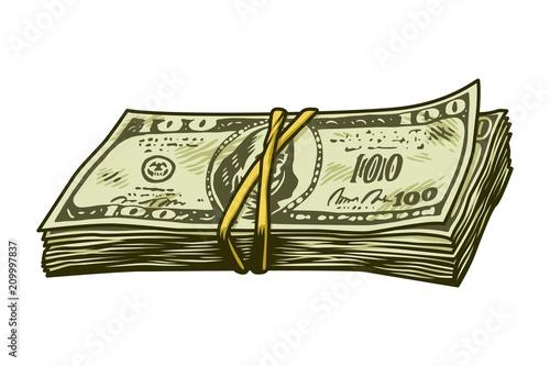 Slika na platnu Vintage colorful cash stack concept