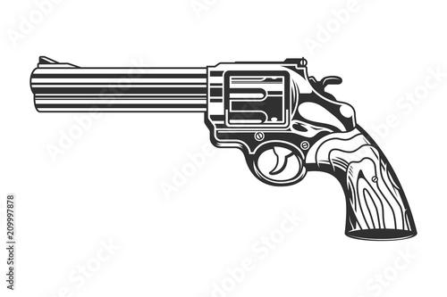 Fotografie, Obraz Vintage revolver handgun template