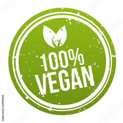 Tela Green 100% Vegan Badge Button. Eps10 Vector.