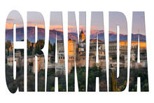 Granada Letters Isolated With Alhambra Image