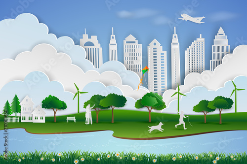 Save the environment and energy concept,Paper art design of landscape with eco green city,Child happy when playing kite with dog and family,vector illustration