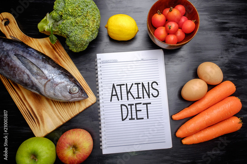 Photo Atkins Diet on chalkboard, health conceptual