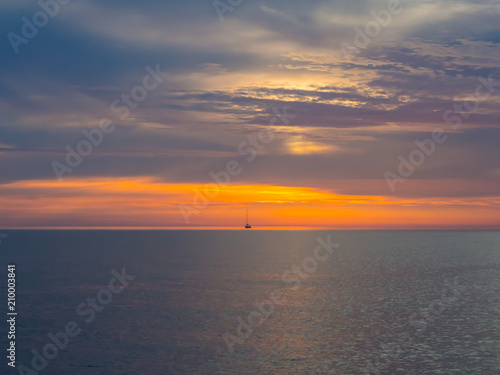 Spoed Foto op Canvas Zee zonsondergang Beautiful sunset in Adriatic sea, Montenegro, captured from a sailing boat