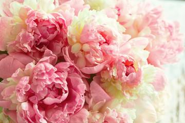 FototapetaFluffy pink peonies flowers background