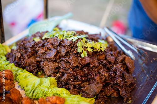 Thai aromatic black beef slices