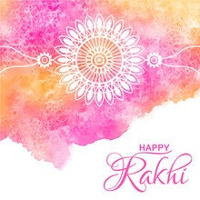 Raksha Bandhan Vector Greeting Card Design With Watercolor Background. Stylized Rakhi Amulet Illustration With Typographic Composition. Watercolor Uneven Shape With Stains. Aquarelle Painted Texture.