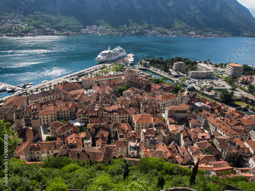 Fotobehang Oceanië Kotor panorama from the fortress on the top of the hill
