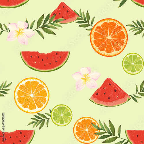 Cotton fabric seamless pattern with oranges, watermelons and flowers
