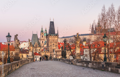 Foto op Plexiglas Praag The Old Town with Charles bridge in Prague early in the morning