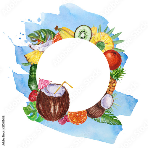 Foto op Canvas Bloemen vrouw Watercolor frame with fruits and leaves.