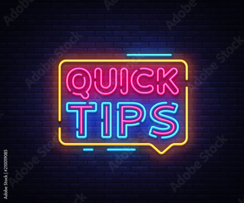 Quick Tips neon signs vector. Quick Tips Design template neon sign, light banner, neon signboard, nightly bright advertising, light inscription. Vector illustration