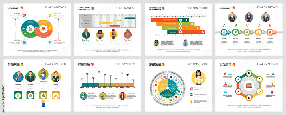 Fototapeta Colorful economy or research concept infographic charts set. Business design elements for presentation slide templates. For corporate report, advertising, leaflet layout and poster design.