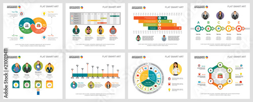 Fotografía  Colorful economy or research concept infographic charts set