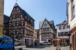 Kirschgarten in Mainz Fachwerkhaus Fachwerkhäuser bei blauen Himmel