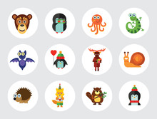 Funny Animals Icon Set. Monkey...