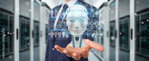 Staande foto Vlees Businessman using digital artificial intelligence interface 3D rendering