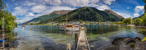Queenstown New Zealand, December 24th 2014 : panoramic view of teh Queenstown harbour