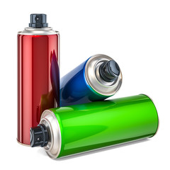 Colored spray paint cans. 3D rendering