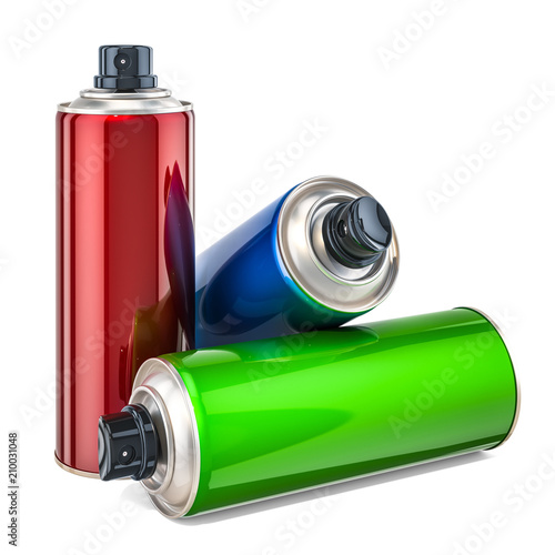 Colored spray paint cans. 3D rendering © alexlmx