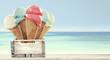 Leinwandbild Motiv Ice cream and beach
