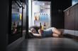 canvas print picture - Black Woman Awake For Heat Wave Sleeping in Fridge