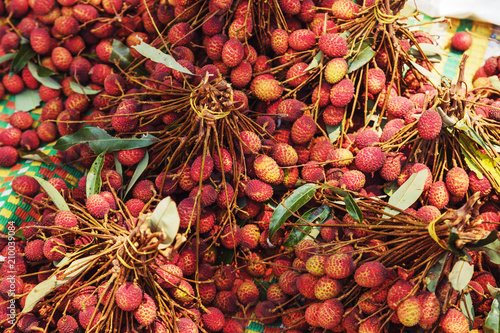 Lychees fruit on a street market.