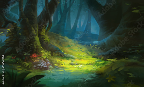 Game Art Fantasy Forest Environment Canvas Print