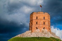 Tower Of Gediminas (Gedimino) In Vilnius, Lithuania, Part Of Upper Vilnius Castle Complex