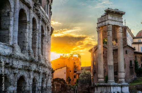 Plakat Rzym o zachodzie słońca
