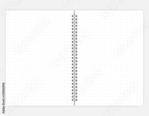 Poster Spirale Open spiral bound dot grid A6 size notebook vector mockup
