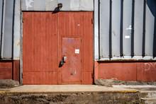 Old Metal Warehouse Door, Hang...