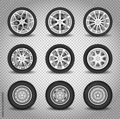 Fotografie, Obraz  Car wheels vector set isolated on transparent background