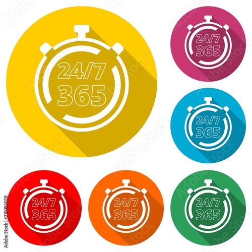 Fényképezés  Open 24/7 - 365, 24/7 365, 24/7 365 icon, color icon with long shadow