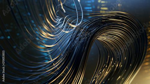 Fotografía Kabel vor abstraktem technischem Hintergrund