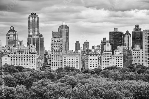 Black and white picture of Manhattan Upper East Side, New York City, USA.