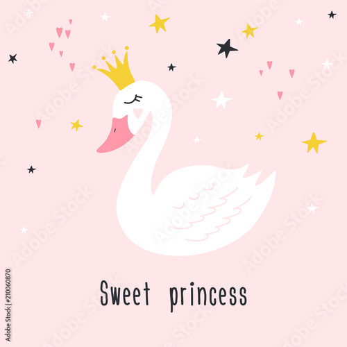 Photo Cute princess swan on pink background with text Sweet princess